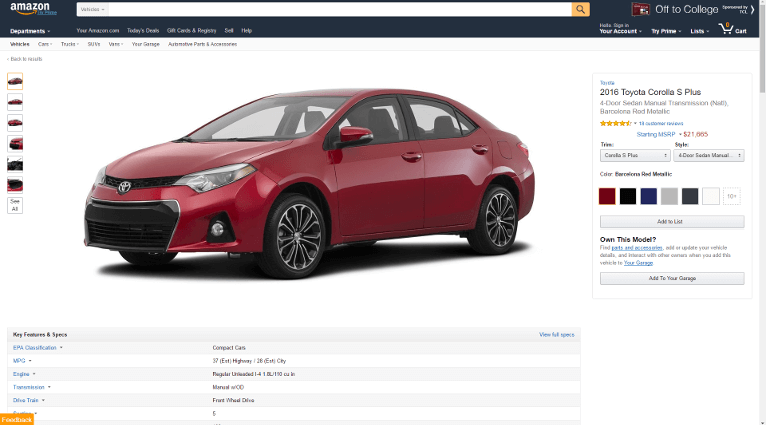 Screenshot of the Amazon Vehicles 2016 Toyota Camry Page