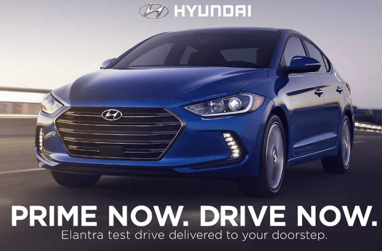 Screenshot of the Amazon/Hyundai pilot test drive program advertisement